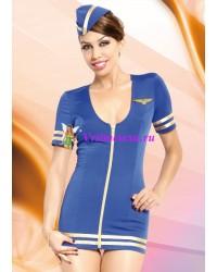 M/L-Костюм стюардессы(платье+голов.убор) голубой
