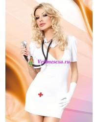 M/L-Костюм врача(платье+перчатка+голов.убор) белый