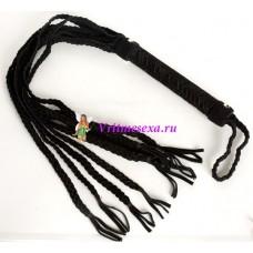 Плетка из нат.кожи плетеная черная 63см