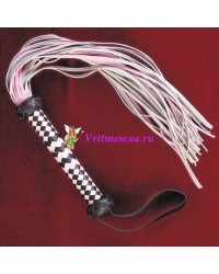 Плетка из нат.кожи розовая 42см 40 хвостов