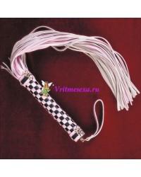 Плетка из нат.кожи розовая 48см 46 хвостов