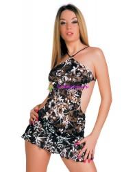 S/L-Мини платье+стринги  черно-белое