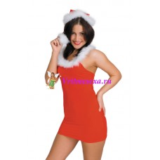S/L-Новогоднее миниплатье+шапочка