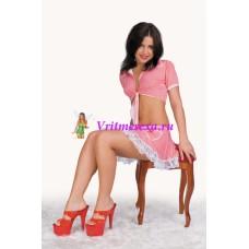 S/L-Топ+юбка  розовый