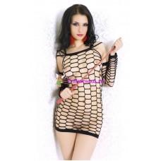 S/M-Платье-сетка черное бесшовное