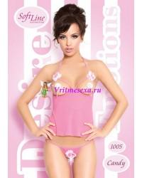 S/M-Топ и стринги  розовый