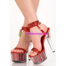 Туфли серебр/красные/с блест.