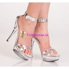 Туфли серебристые/черные