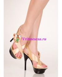 Туфли золотис/черный/красные