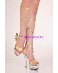 Туфли золотис/красный/серебрист/черный