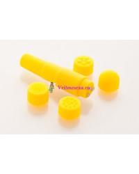 Вибратор с насадками 9,5см желтый
