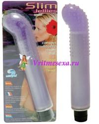 Вибратор гелевый гнутый фиолетовый 15,2 см