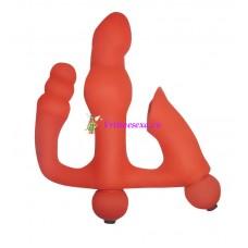 Вибратор тройной 5 режимов красный силикон 11,5 см два мотора