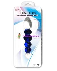 Фаллоимитатор стекло 17,5 см бело-синий
