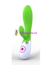 Вибратор Rabbit зелено-белый