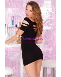 Платье бесшовное с вырезами черное-OS