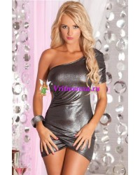 Платье с одним рукавом серебр.-S/M/L