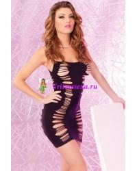 Платье-сетка бесшовное черное-OS