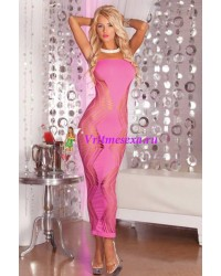Платье-сетка бесшовное длинное черное,розовое-OS