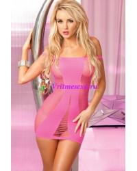 Платье-сетка бесшовное розовое-OS