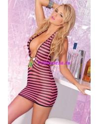 Платье-сетка с глубоким декольте черно-розовое-OS