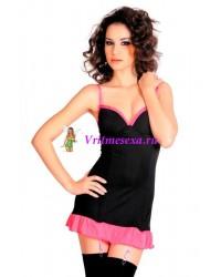 Платье с пажами и стринги черно-розовые S/L