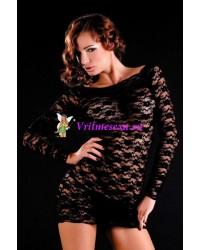 Платье с рукавами и стринги черные, белые, розовые S/L