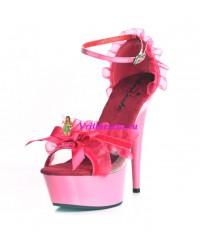 Туфли с рюшами черные, розовые