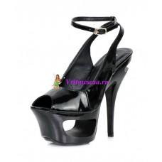 Туфли черные, черно-красные